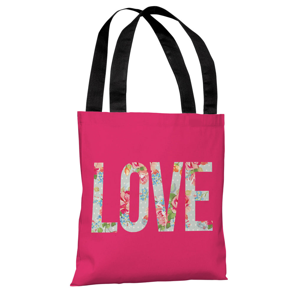 Love Cabbage Rose - Hot Pink Tote Bag by OBC