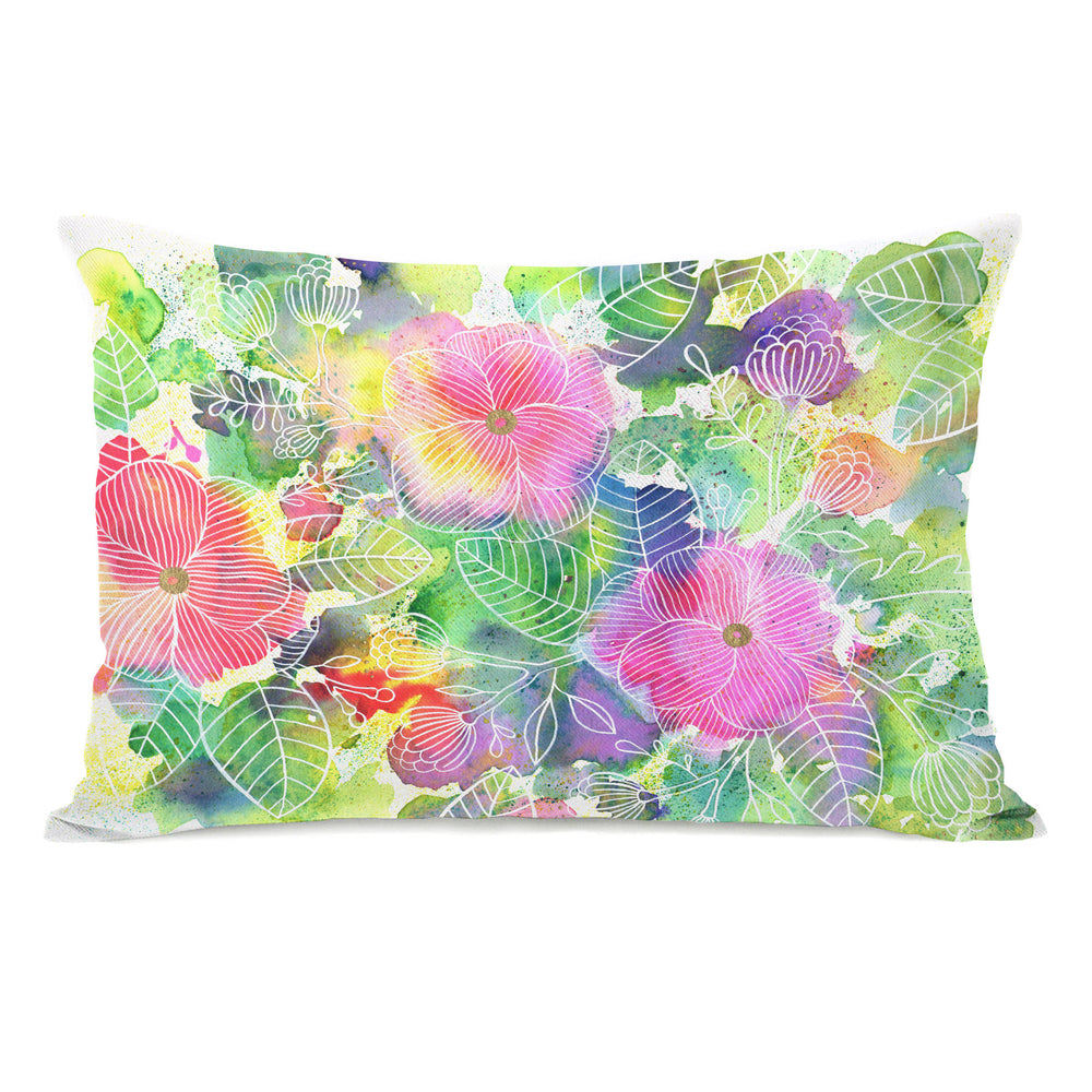 Rainbow Splatter Flower - Multi Throw Pillow by Ana Victoria Calderon