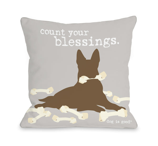 Blessings Gray Throw Pillow by Dog Is Good