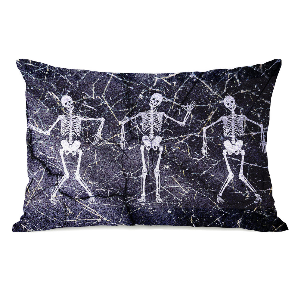 Dancing Skeletons - Black White 14x20 Pillow by OBC