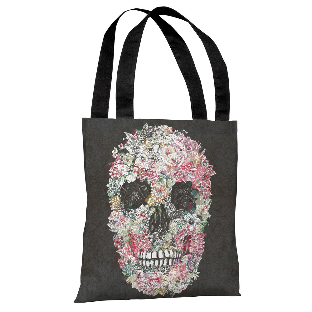 Dia Muertos Skull Flowers - Gray Multi Tote Bag by OBC