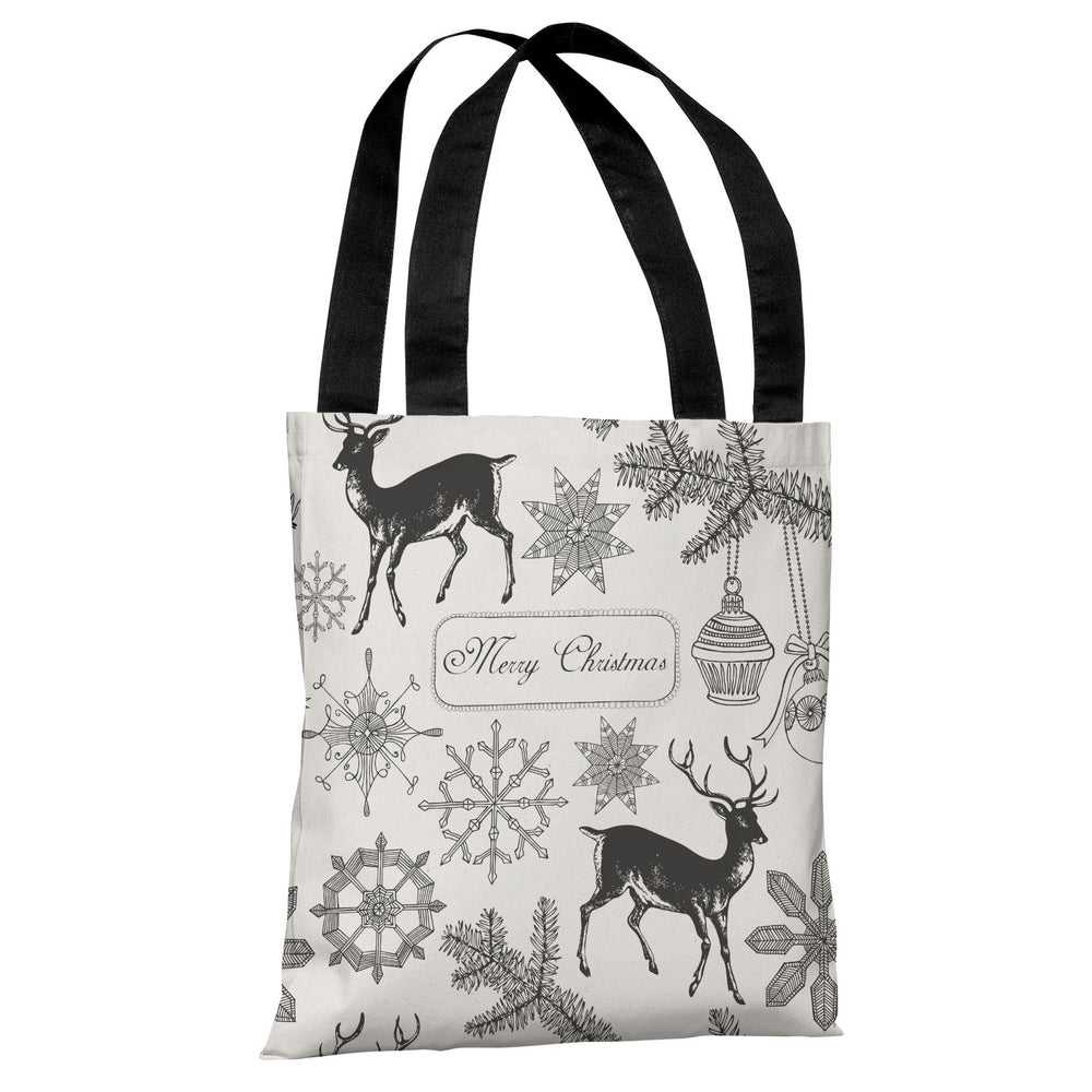 Merry Christmas Snowflake Reindeers - Ivory Gray Tote Bag by OBC
