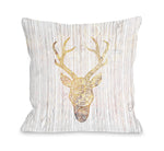 Reindeer Head - White Fire Throw Pillow by OBC