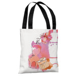 Coral Perfumes  - White Multi Tote Bag by Judit Garcia Talvera