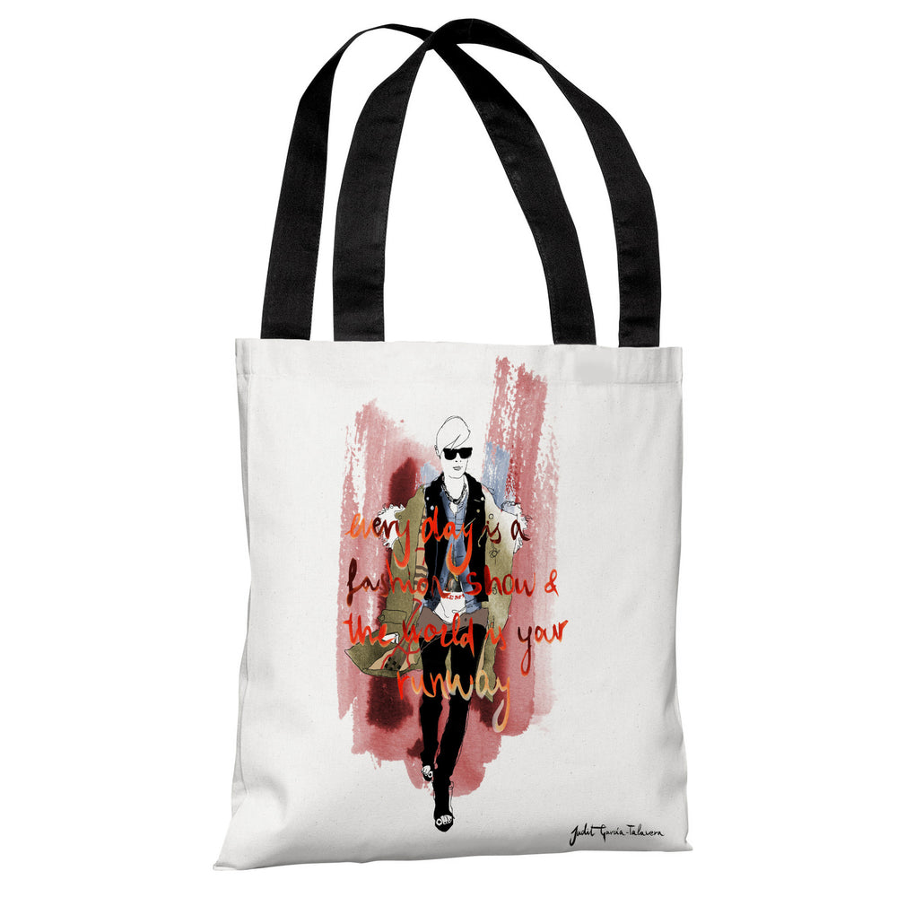 Girl Walking  - White Multi Tote Bag by Judit Garcia Talvera