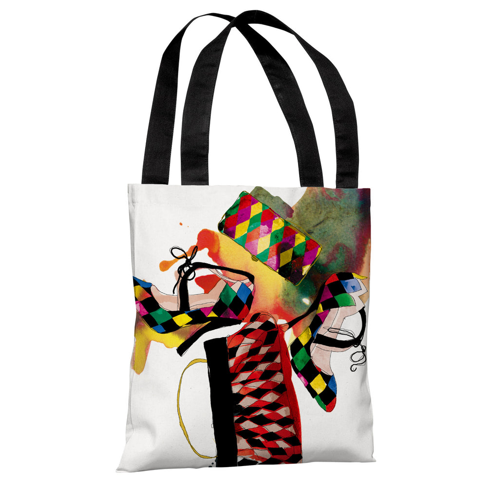 Harlequin  - White Multi Tote Bag by Judit Garcia Talvera