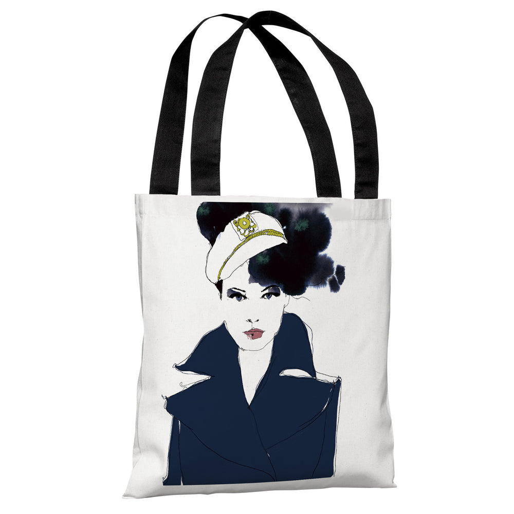 Navy Blue Sailor - White Navy Tote Bag by Judit Garcia Talvera
