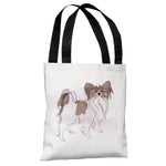 Papillion - White Brown Tote Bag by Judit Garcia Talvera