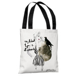 Pinup Stripes - White Black Tote Bag by Judit Garcia Talvera