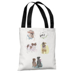 Puppies Sketches  - White Multi Tote Bag by Judit Garcia Talvera