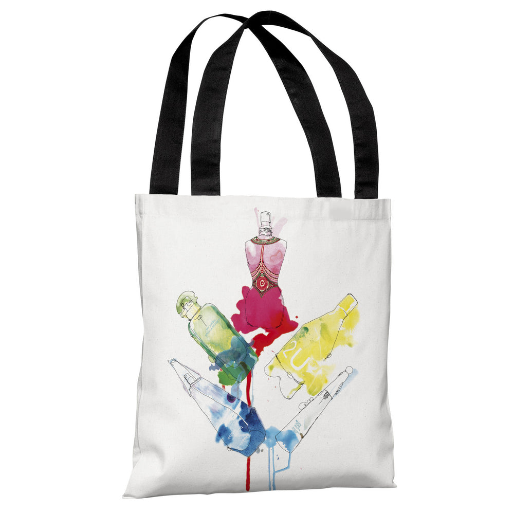 Rainbow Perfumes  - White Multi Tote Bag by Judit Garcia Talvera