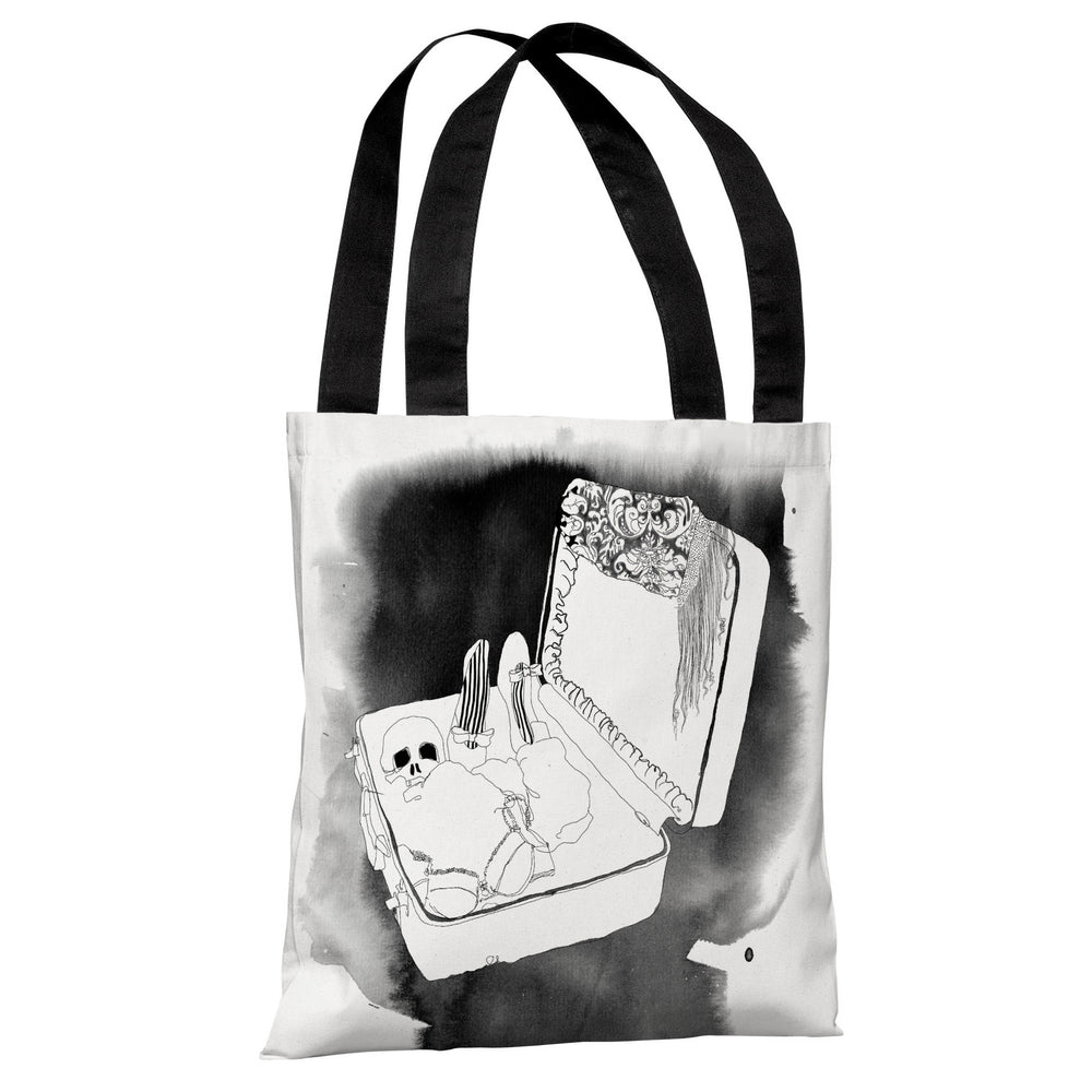 Skull Suitcase - White Black Tote Bag by Judit Garcia Talvera