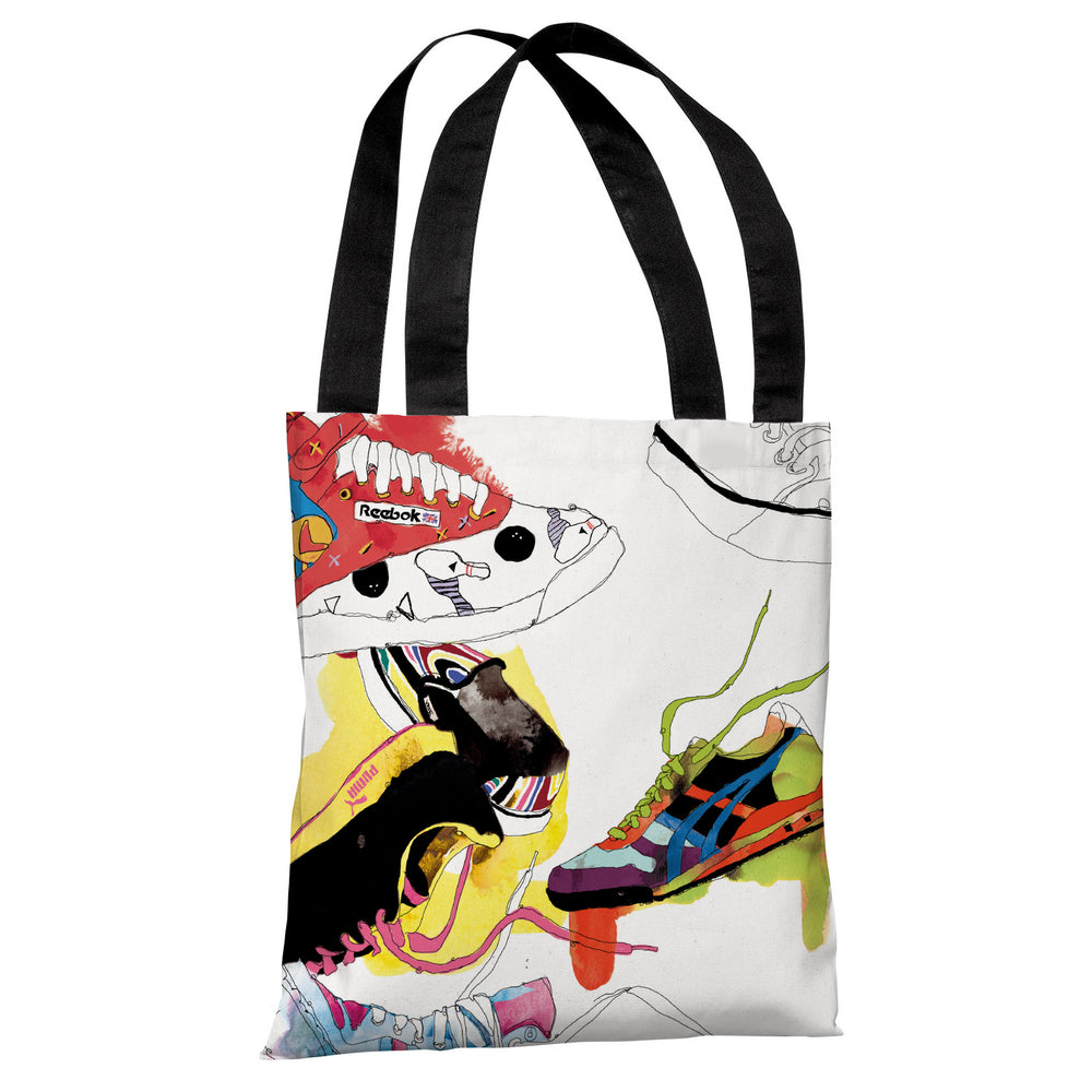 Sneakers  - White Multi Tote Bag by Judit Garcia Talvera
