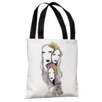 Three Women  - White Multi Tote Bag by Judit Garcia Talvera