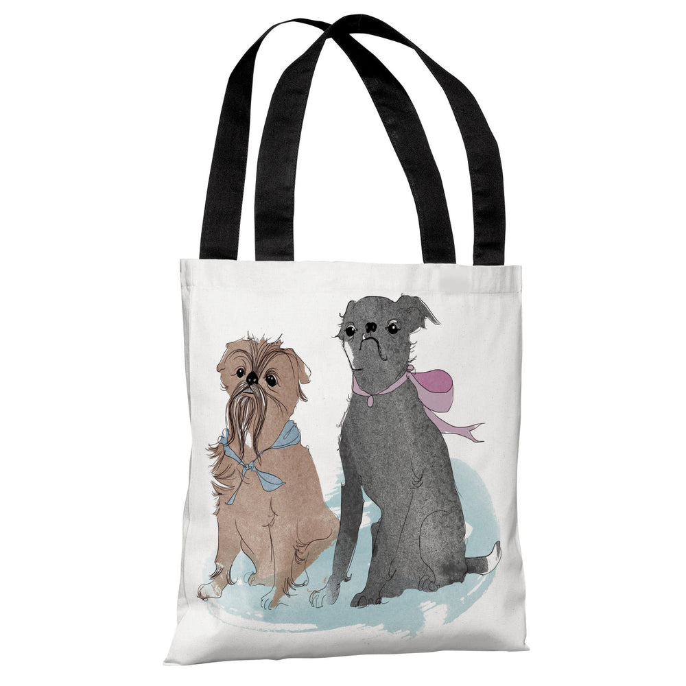 Two Puppies  - White Multi Tote Bag by Judit Garcia Talvera