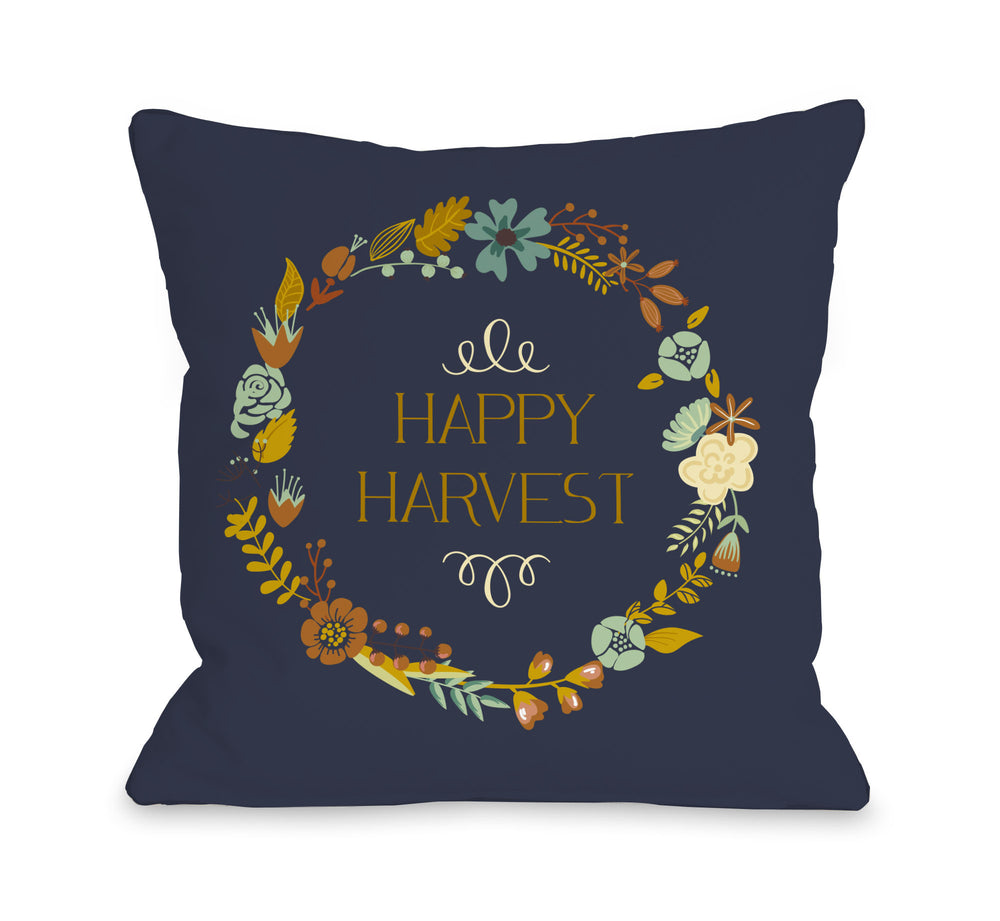 Happy Harvest Wreath - Navy Multi Throw Pillow by OBC