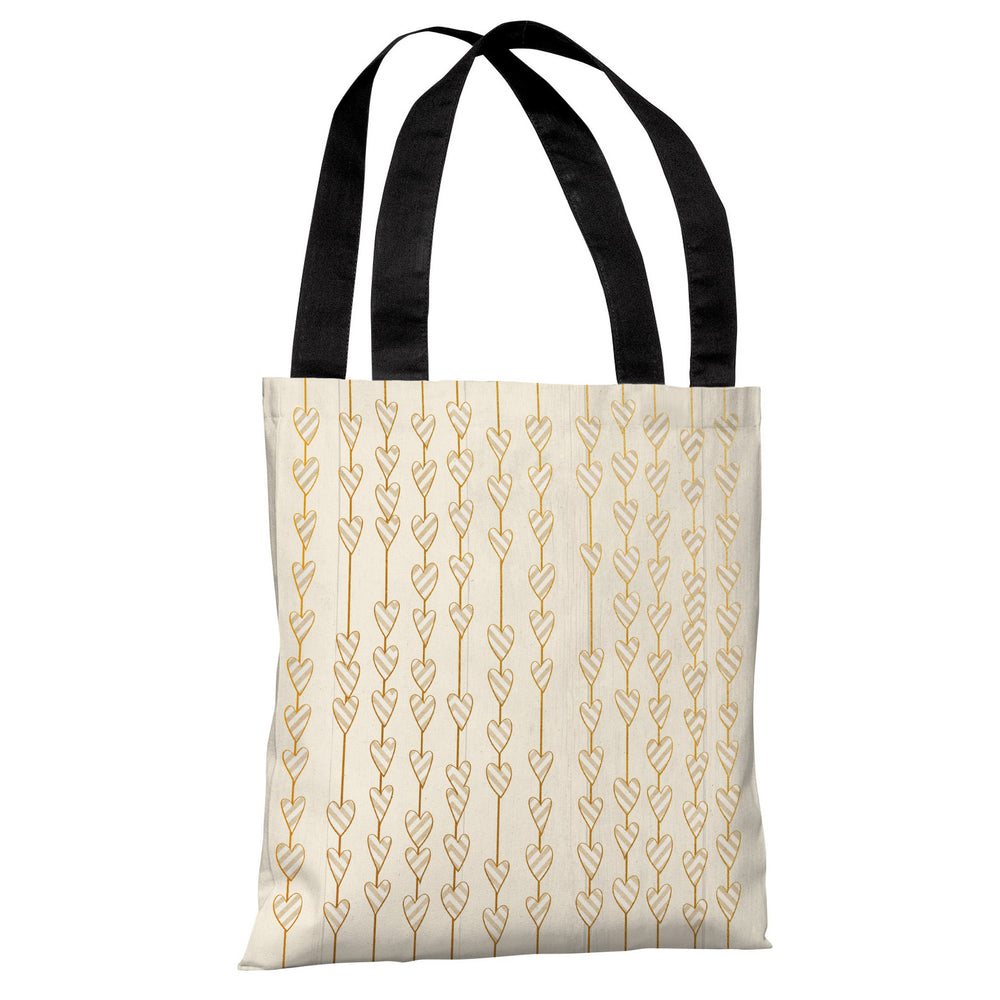 Hearts On A String - Tan Gold Tote Bag by OBC