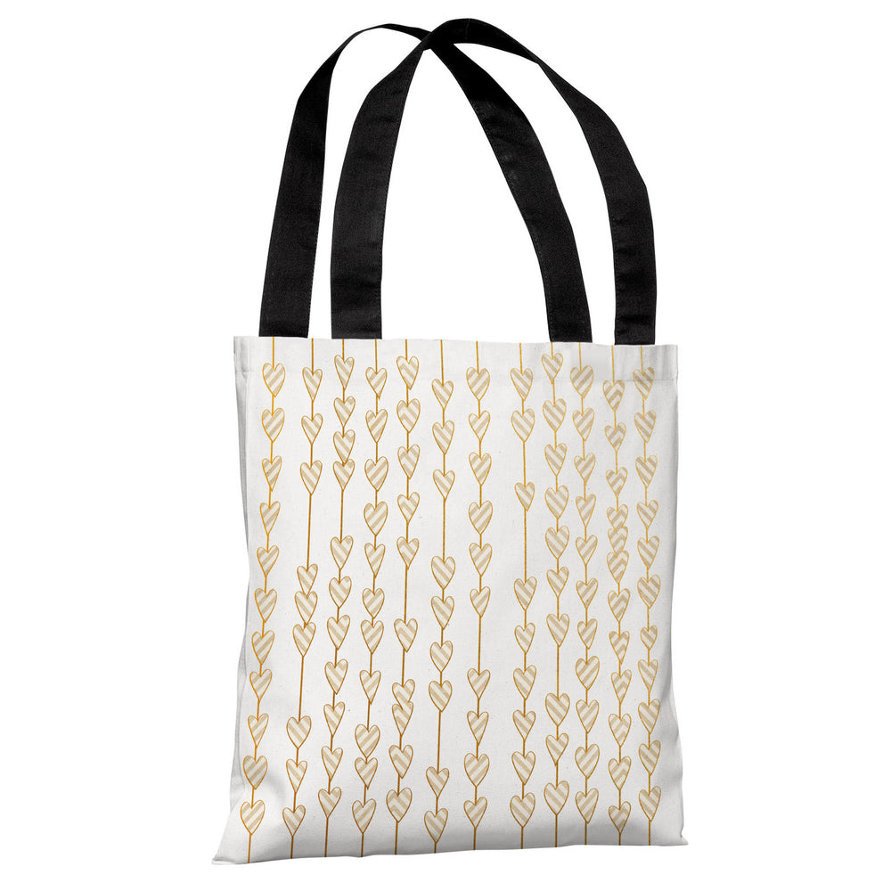 Hearts On A String - White Gold Tote Bag by OBC