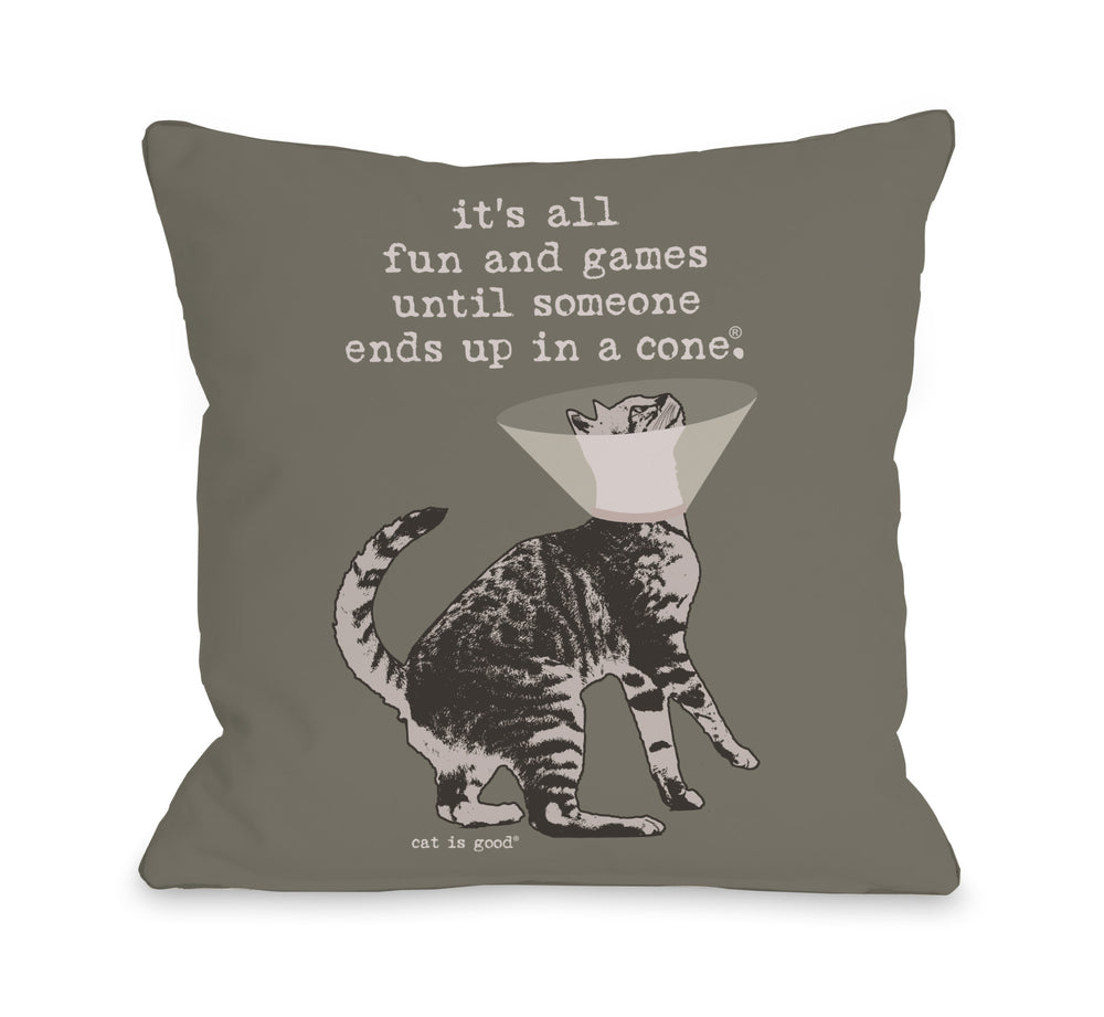 Fun and Games Cone Cat Throw Pillow by Dog Is Good