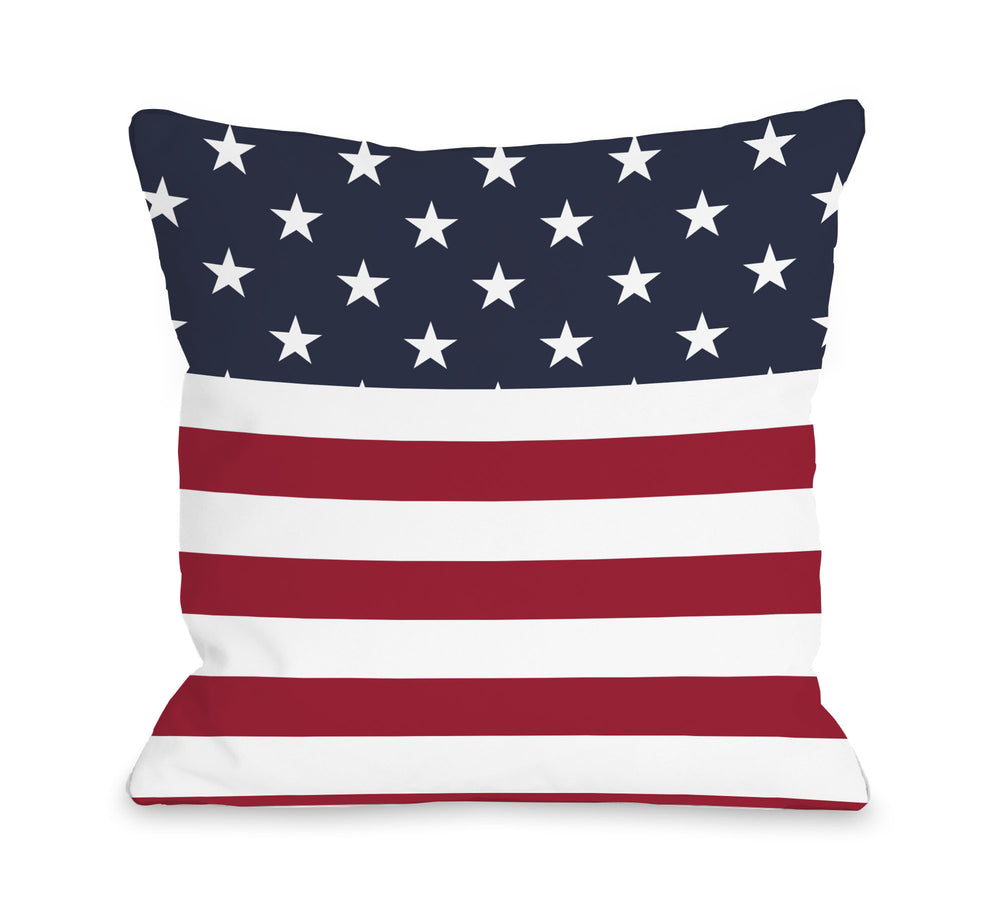 American Flag  Section - Multi Throw Pillow by OBC