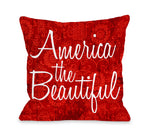 America the Beautiful Floral - Red Throw Pillow by OBC