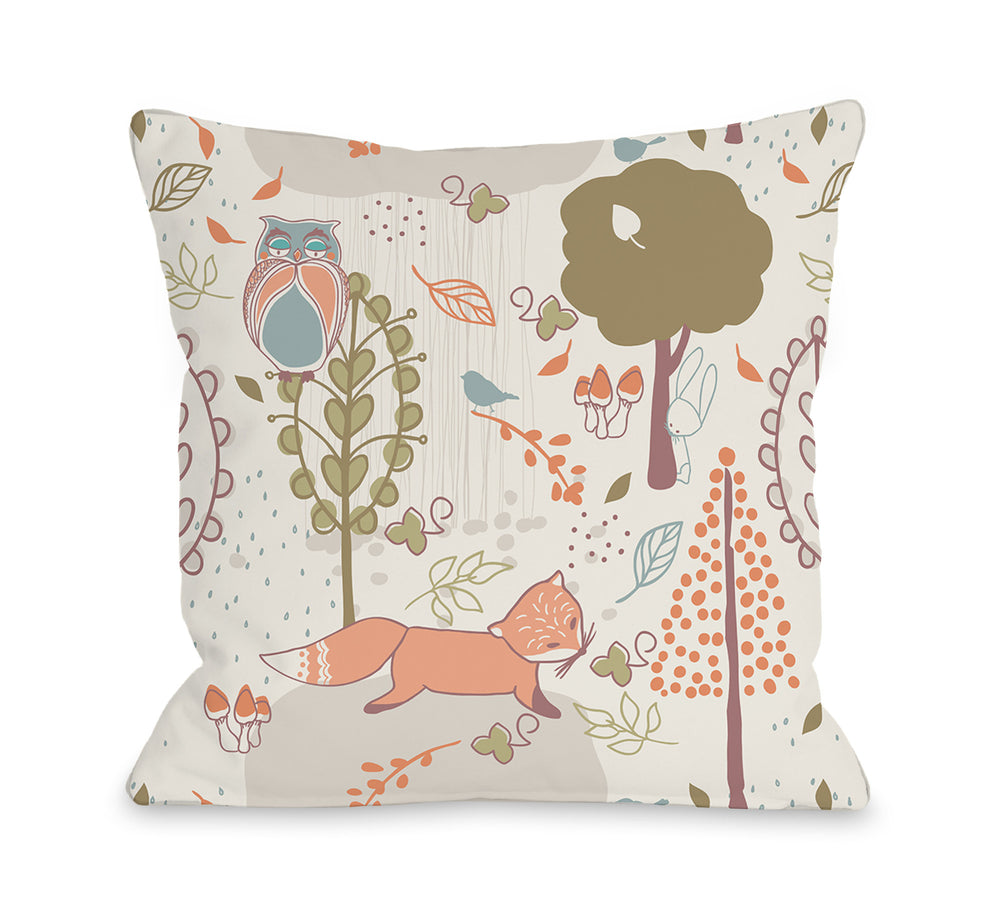 Autumn Critters - Multi Throw Pillow by OBC