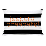 Jeepers Creepers Stripes - Black White 14x20 Pillow by OBC