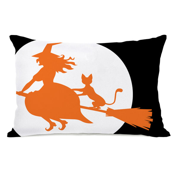 Witch's Best Friend - Black Orange White Throw Pillow by OneBellaCasa.com