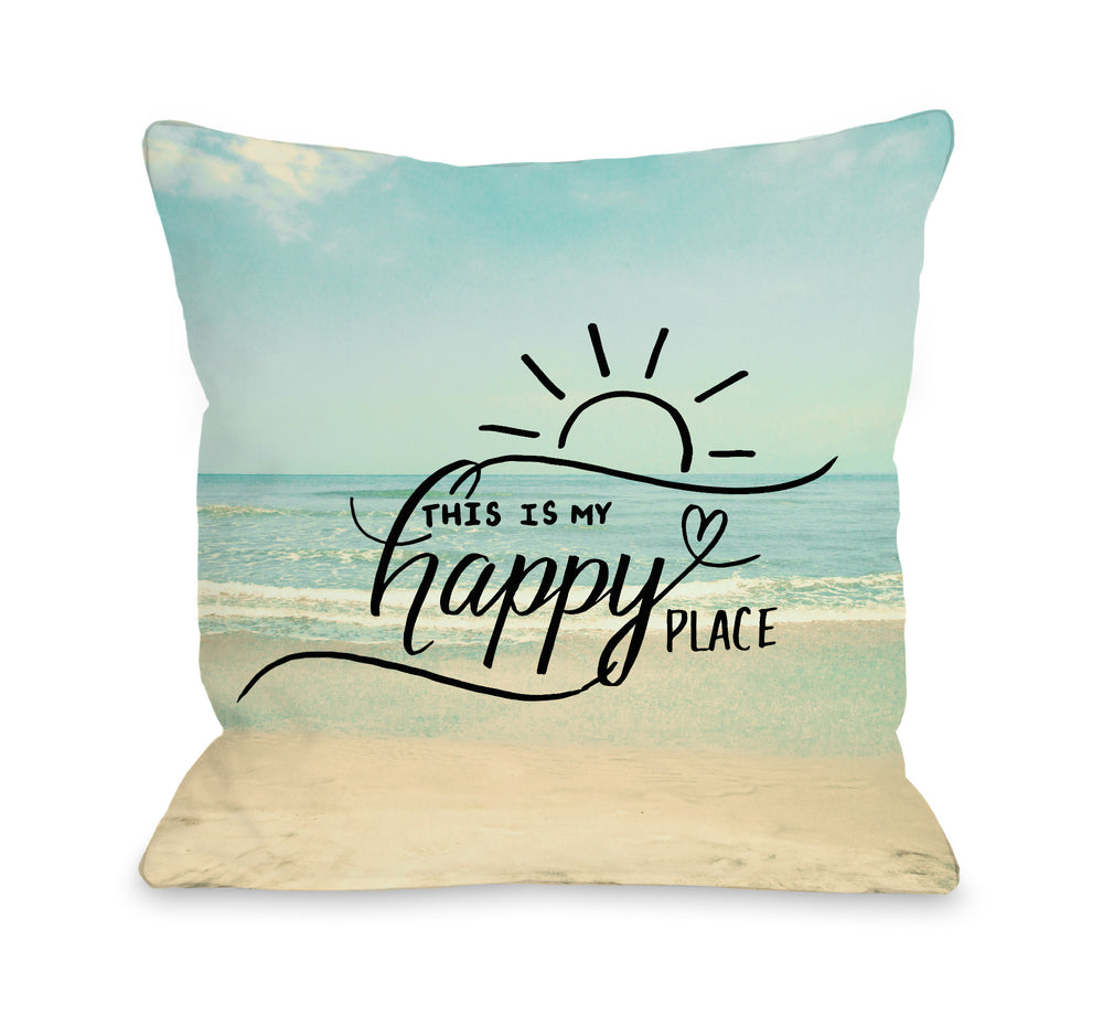 My Happy Place Beach - Multi  Outdoor Throw Pillow by OBC