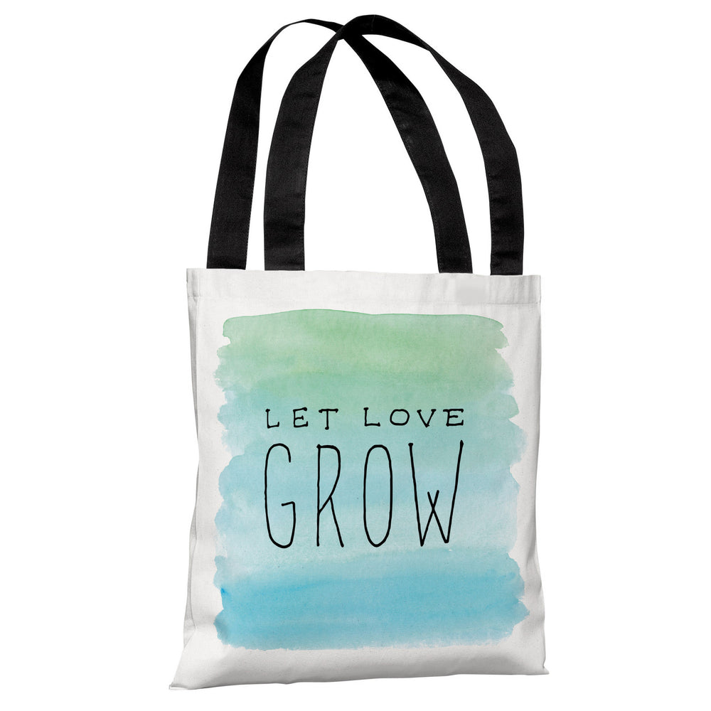 Let Love Grow - White Blue Tote Bag by OBC