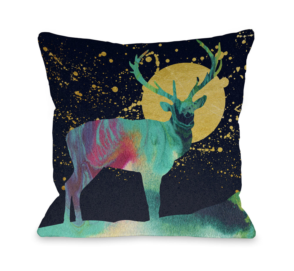 Moon Deer - Multi Throw Pillow by OBC