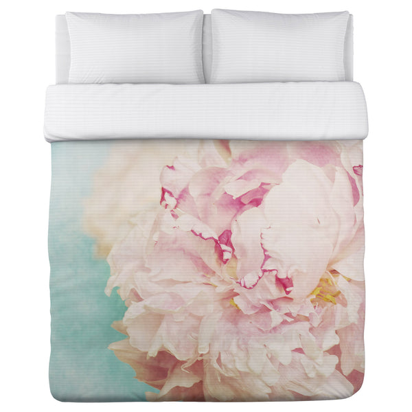 Delicate Peony - Turquoise Pink Lightweight Duvet by OneBellaCasa.com