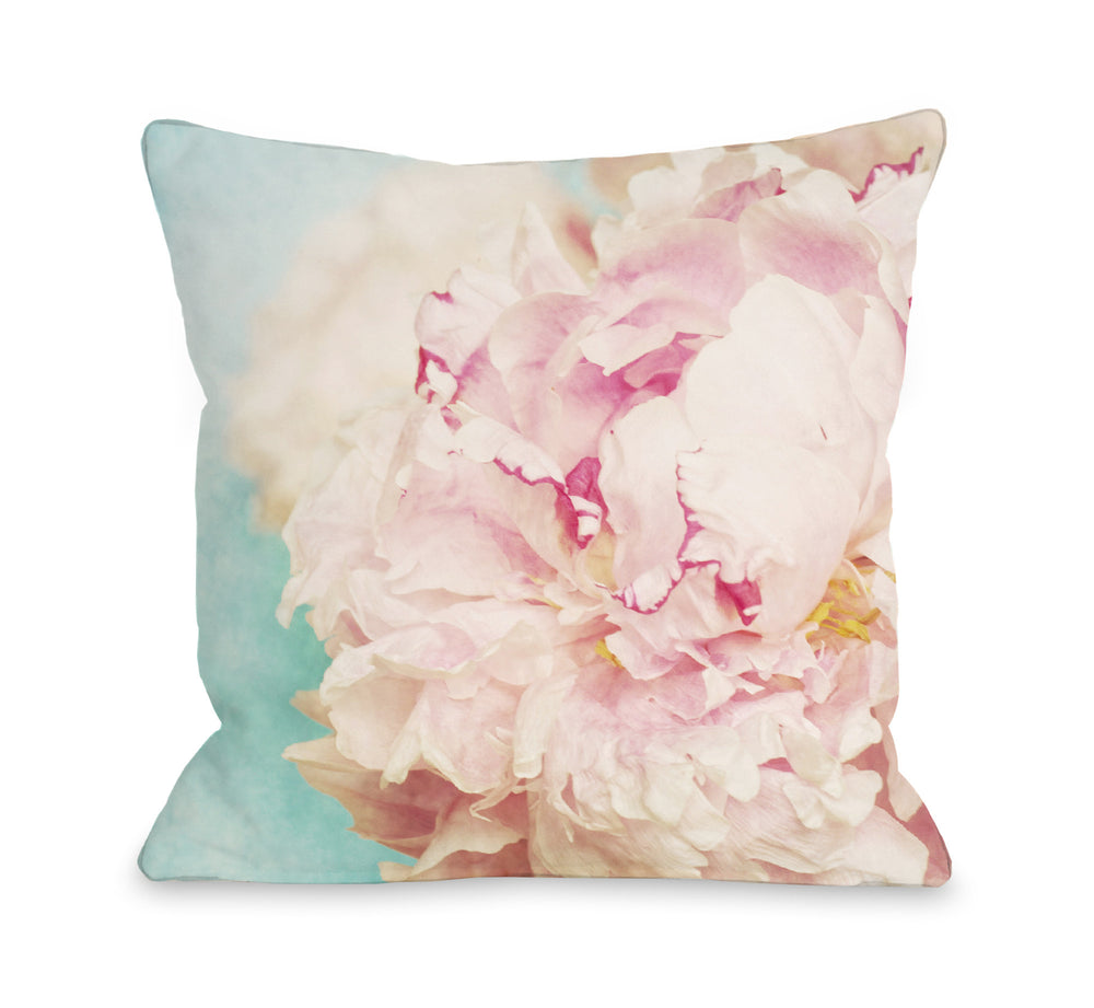 Delicate Peony - Turquoise Pink Outdoor Throw Pillow by OBC