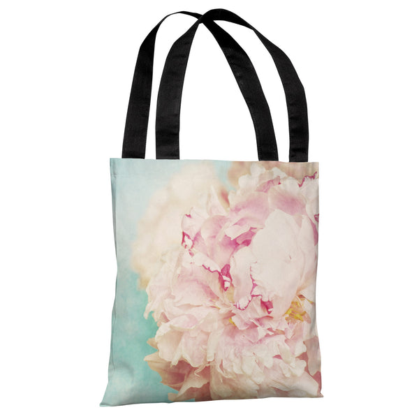 Delicate Peony - Turquoise Pink Tote Bag by OneBellaCasa.com
