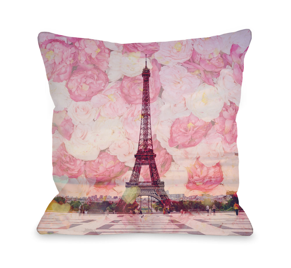 La Tour Eiffel - Pink Throw Pillow by OBC