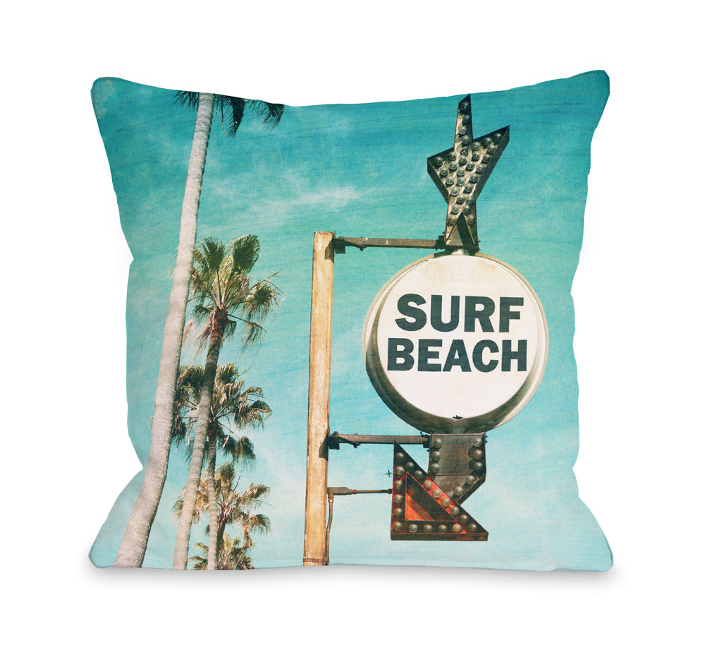 Surf Beach Sign - Multi Outdoor Throw Pillow by OBC