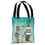 Surf Beach Sign - Multi Tote Bag by OBC