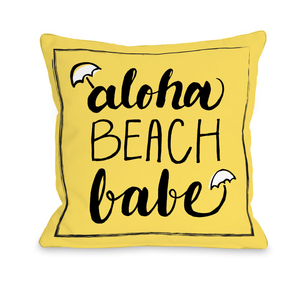 Aloha Beach Babe - Yellow Black Outdoor Throw Pillow by OBC