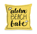 Aloha Beach Babe - Yellow Black Throw Pillow by OBC