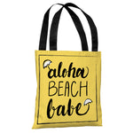 Aloha Beach Babe - Yellow Black Tote Bag by OBC