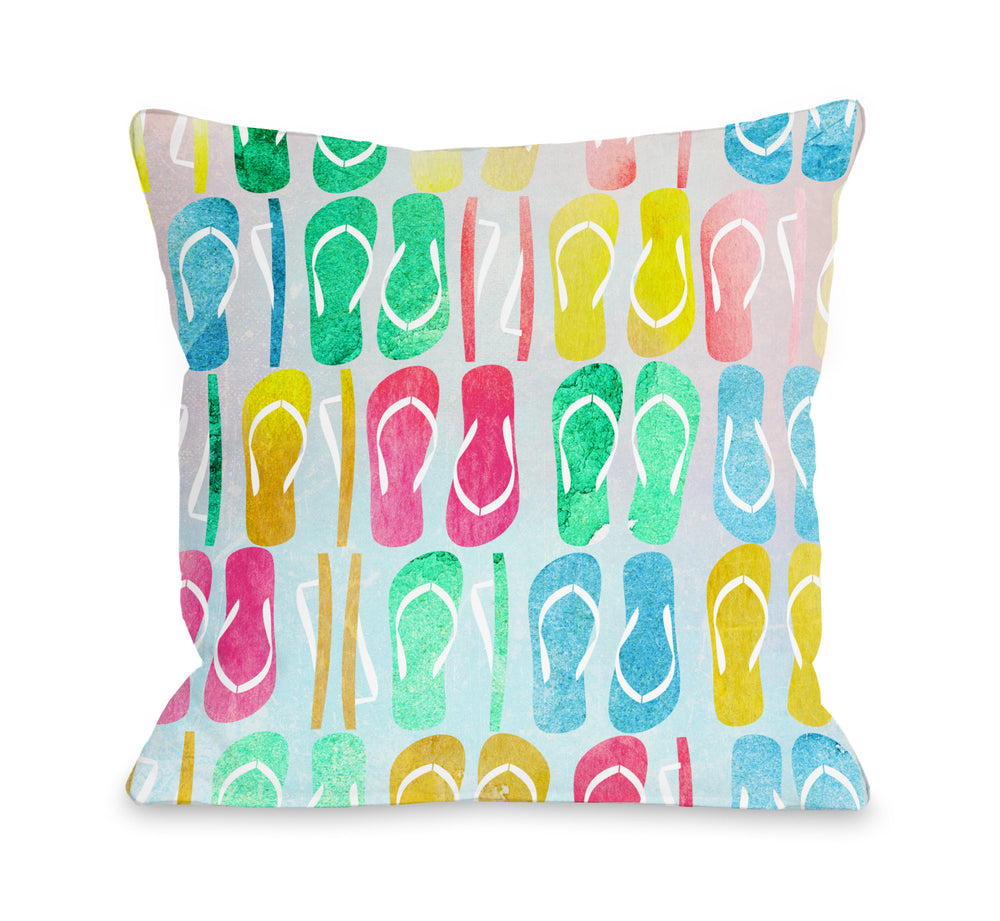 Flip Flop Nation - Multi Outdoor Throw Pillow by OBC