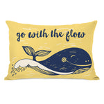 Go With The Flow - Yellow Navy Outdoor Throw Pillow by OBC