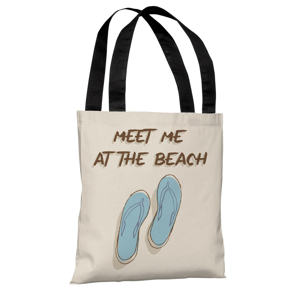 Meet Me At The Beach - Tan Blue Tote Bag by OBC