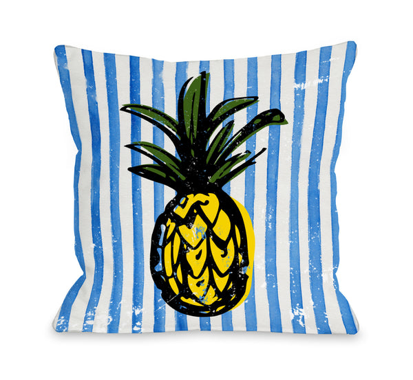 Fineapple - Blue Multi Throw Pillow by OneBellaCasa.com