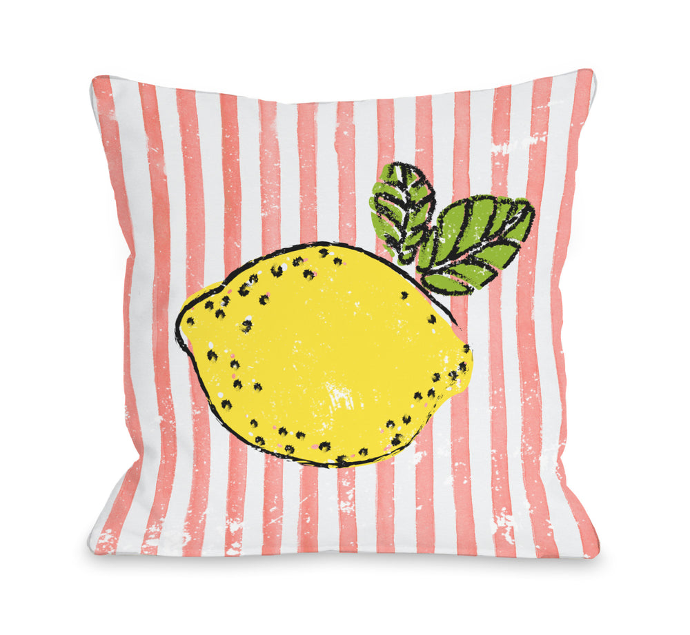 Lemona - Coral Multi Outdoor Throw Pillow by OBC