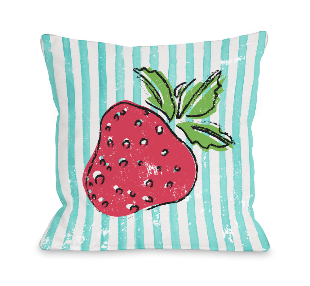 Strawbooty - Teal Multi Throw Pillow by OBC