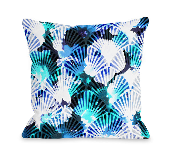 Affirmation - Blue Outdoor Throw Pillow by OneBellacCasa.com