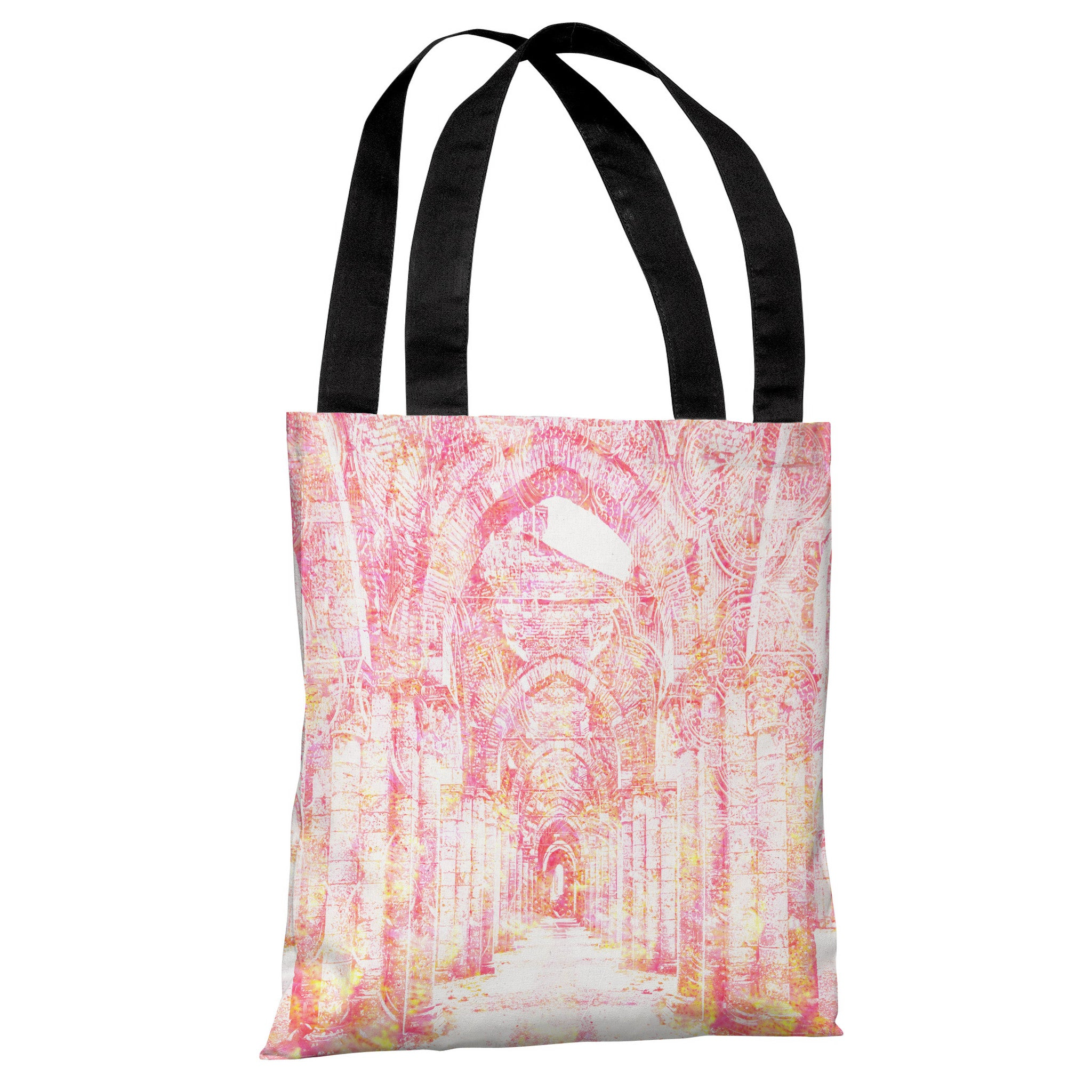 Corridor - White Pink Tote Bag by OBC