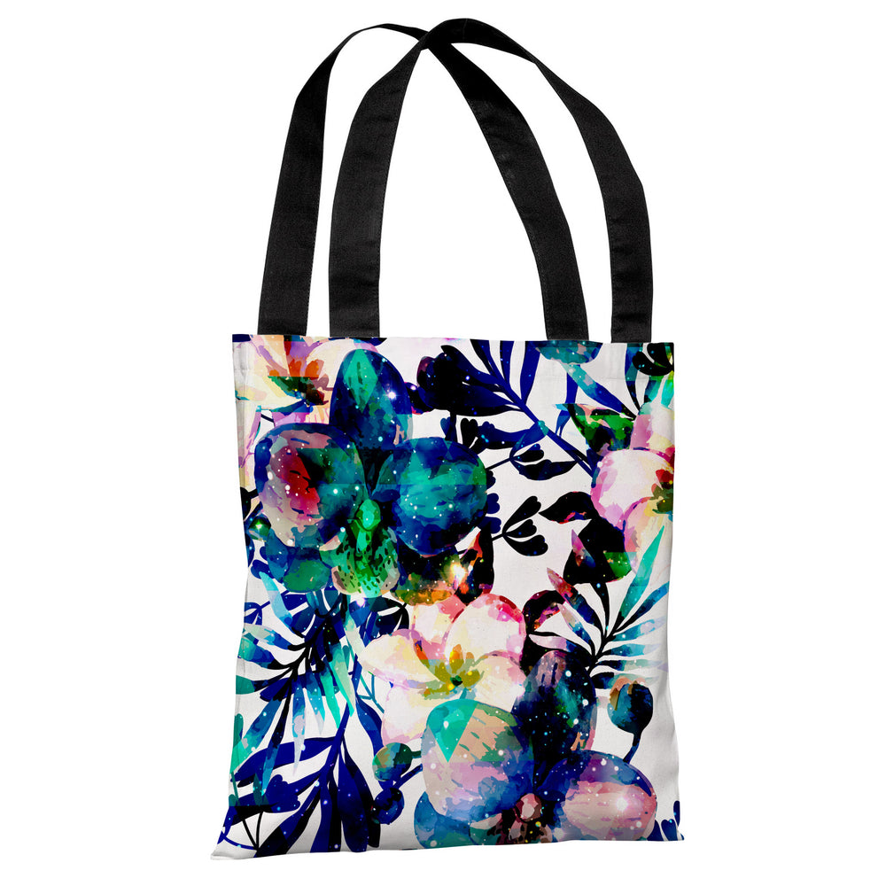 Midnight Blooms - White Indigo Tote Bag by OBC