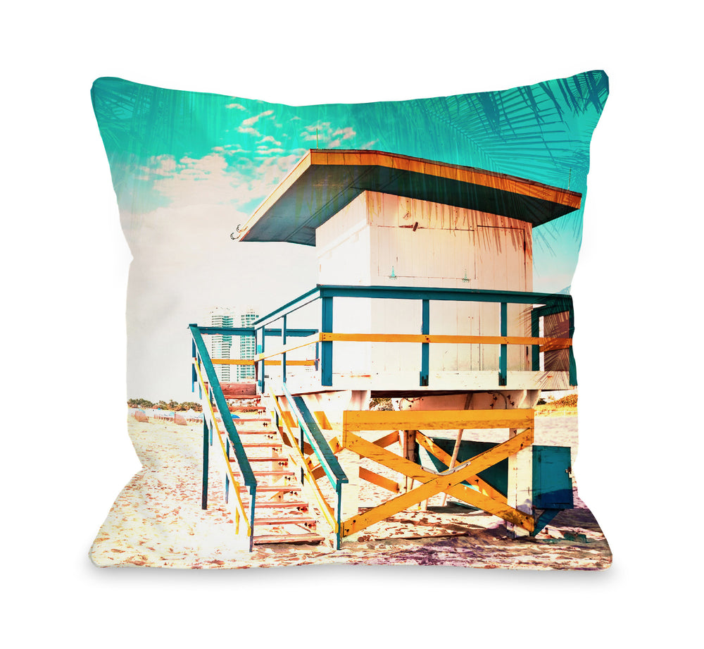 By The Beach - Multi Outdoor Throw Pillow by OBC